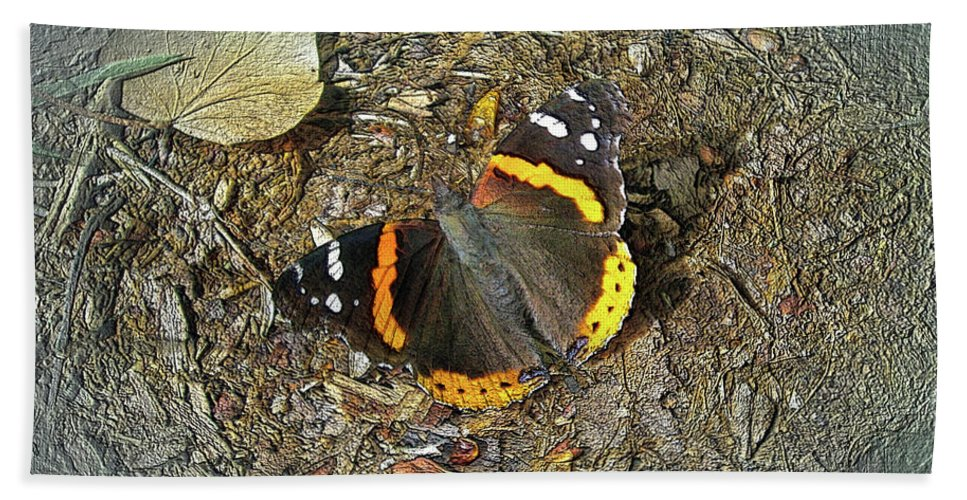 Butterfly Bath Sheet featuring the photograph Digital Red Admiral Butterfly - Vanessa Atalanta by Mother Nature