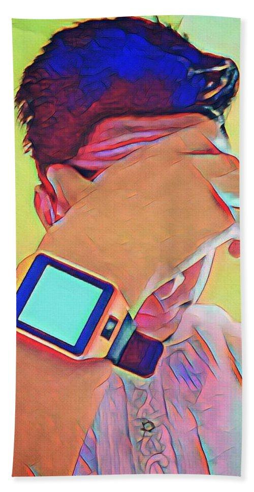 Hand Towel featuring the digital art Digital by Seerat Farooq