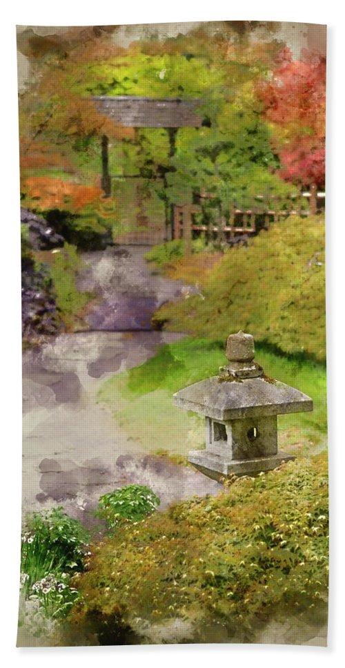 Digital Watercolor Painting Of Japanese Zen Garden Landscape Bath Towel