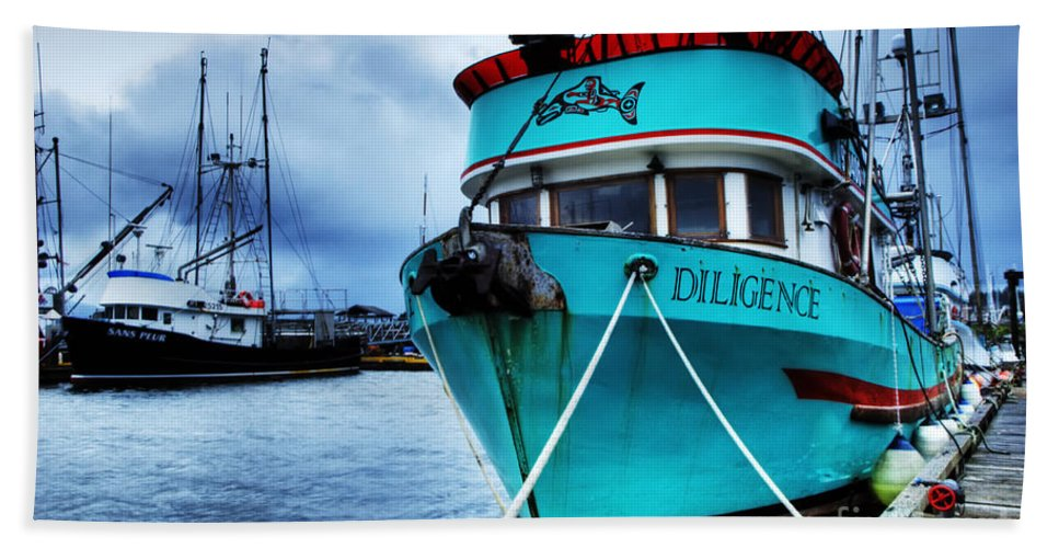Boats Bath Sheet featuring the photograph Diligence by Bob Christopher