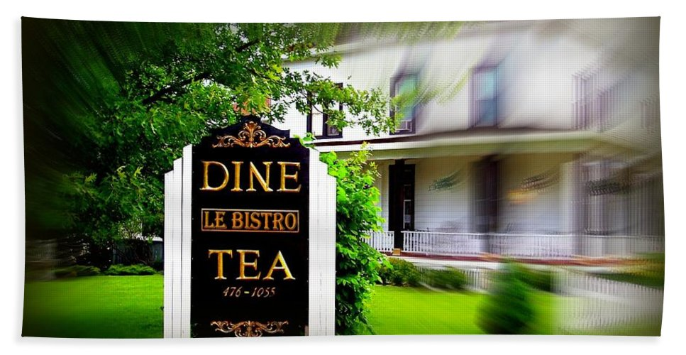 Bath Sheet featuring the photograph Dine Le Bistro Tea by Jacqueline Manos
