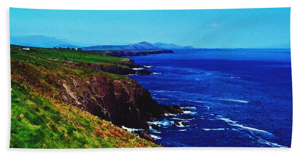 Irish Hand Towel featuring the digital art Dingle Coastline Near Fahan Ireland by Teresa Mucha