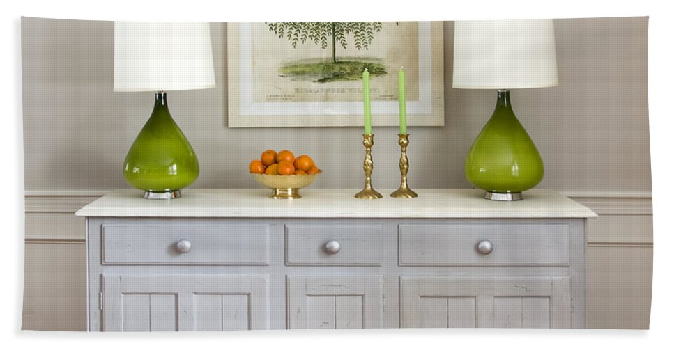 Dining Room Credenza With Green Lamps Bath Towel