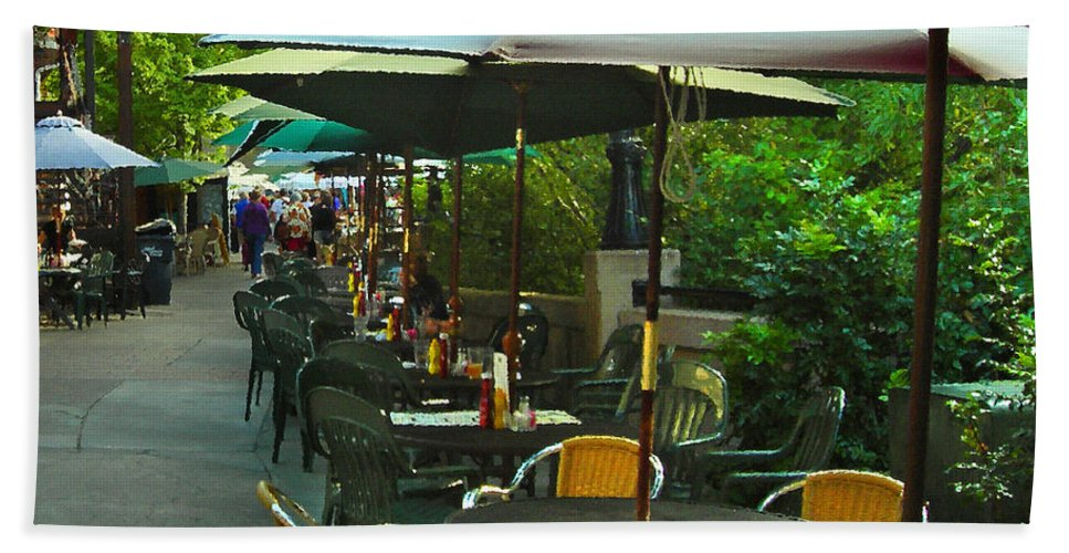 Cafe Bath Sheet featuring the photograph Dining Under The Umbrellas by James Eddy