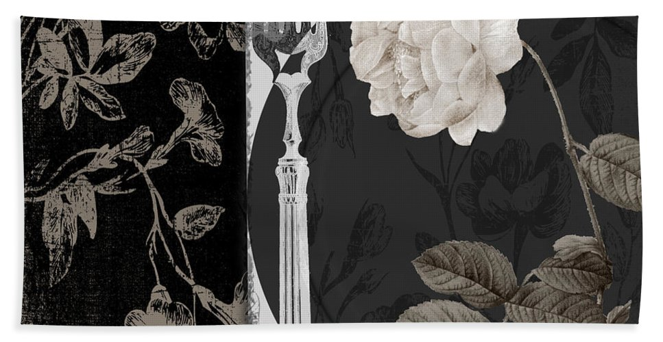 White Rose Hand Towel featuring the painting Dinner Conversation I by Mindy Sommers