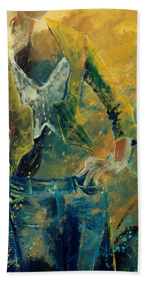 Woman Girl Fashion Bath Towel featuring the painting Dinner Jacket by Pol Ledent