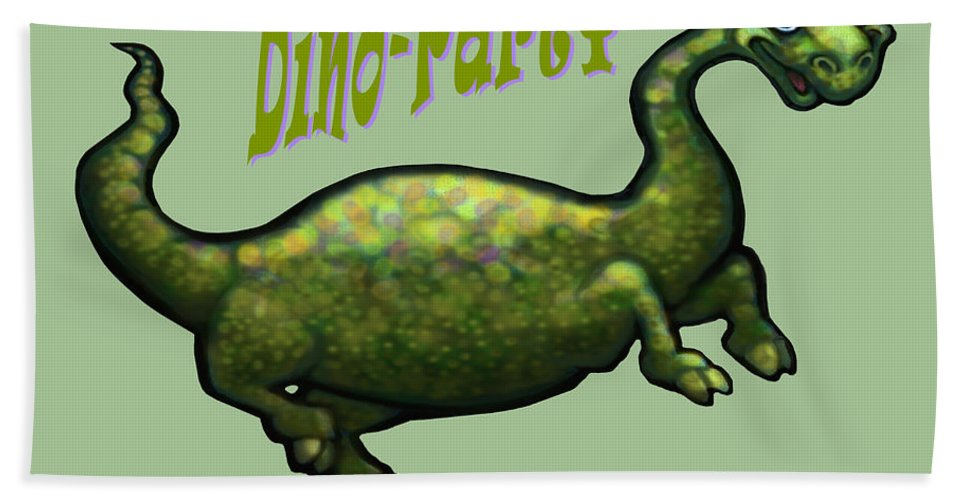 Dinosaur Hand Towel featuring the greeting card Dino Party by Kevin Middleton