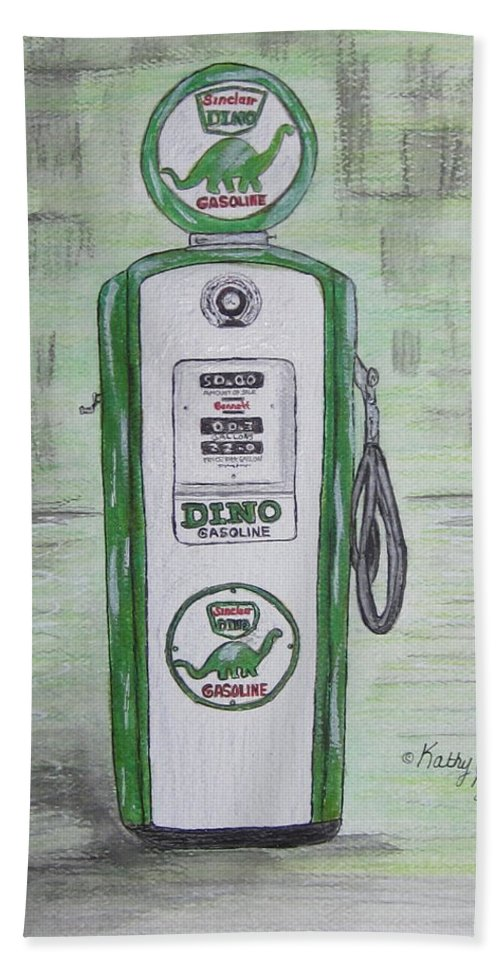 Dino Bath Towel featuring the painting Dino Sinclair Gas Pump by Kathy Marrs Chandler