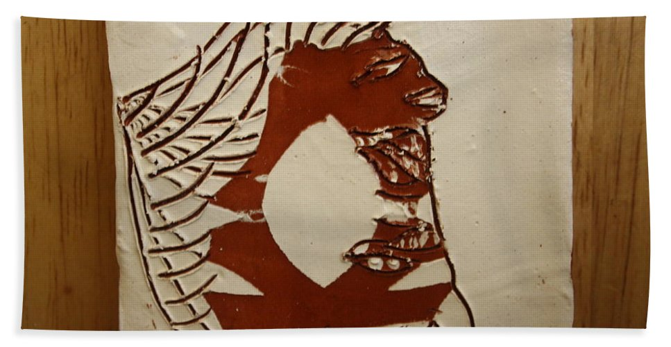 Jesus Hand Towel featuring the ceramic art Dionte - Tile by Gloria Ssali