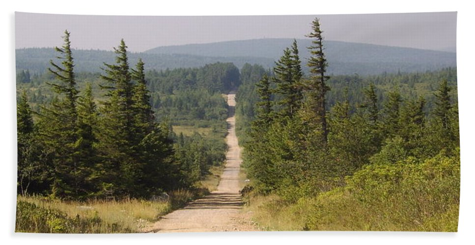 Dirt Road Dolly Sods West Virginia Appalachian Mountain Landscape Images Photgraph Prints Nature Great Outdoors Wilderness Wind Blown Pine Trees Blue Ridge Mountain Prints Hand Towel featuring the photograph Dirt Road To Dolly Sods by Joshua Bales