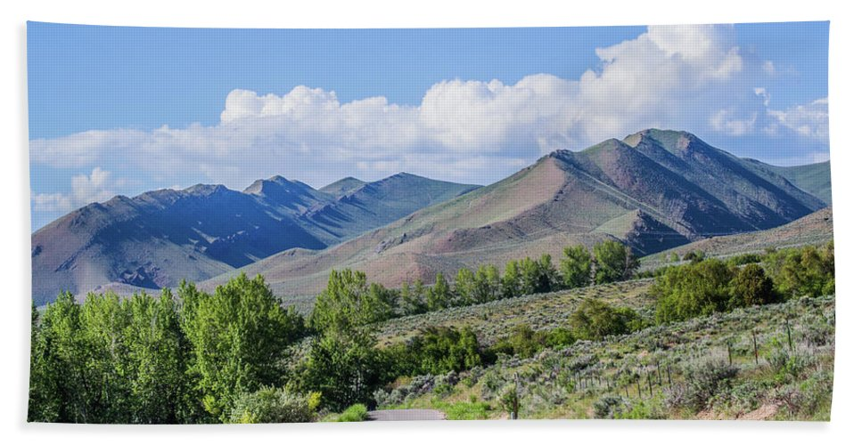 Landscape Bath Sheet featuring the photograph Dirt Road To Serenity by Mary Lou Stone