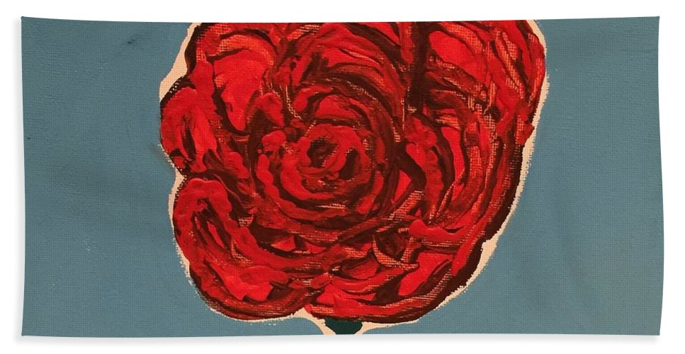 Bath Sheet featuring the painting Dirty Rose by Lisa Porter