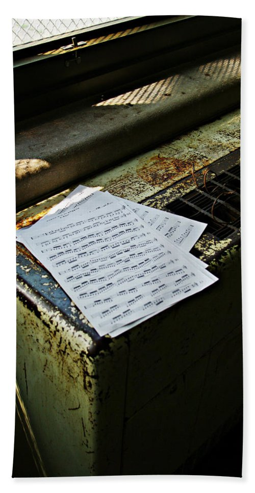 Music Bath Towel featuring the photograph Discarded Notes by Scott Wyatt