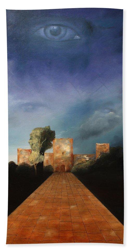 Disclosure Of The Hidden Bath Towel featuring the painting Disclosure Of The Hidden by Darko Topalski