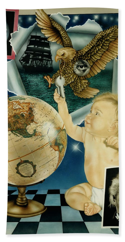 Realism Hand Towel featuring the painting Discovery Of The New World by Rich Milo