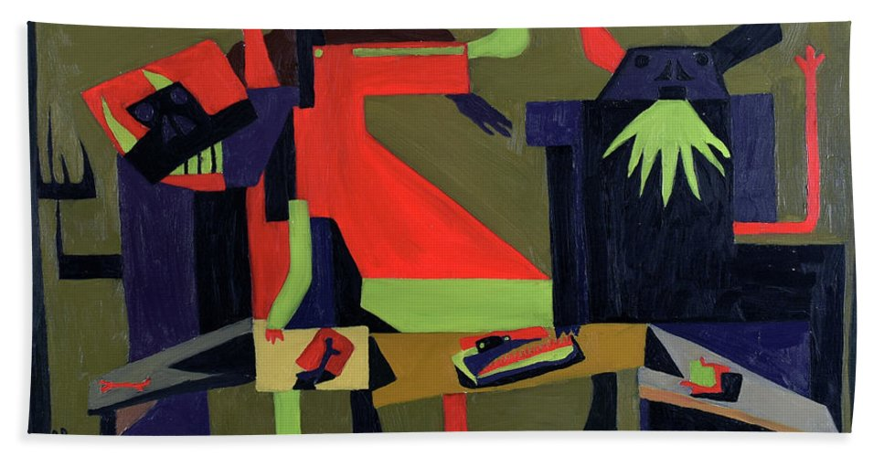 Abstract Hand Towel featuring the painting Disfeastitia by Ryan Demaree