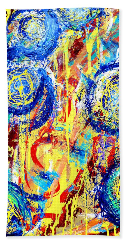 Blue Hand Towel featuring the painting Disintegrated Element by Larry Calabrese