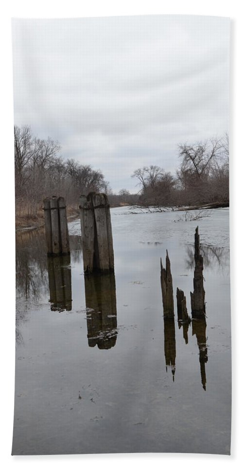 Hennepin Canal Hand Towel featuring the photograph Disintegration Of Time by Tammy Mutka