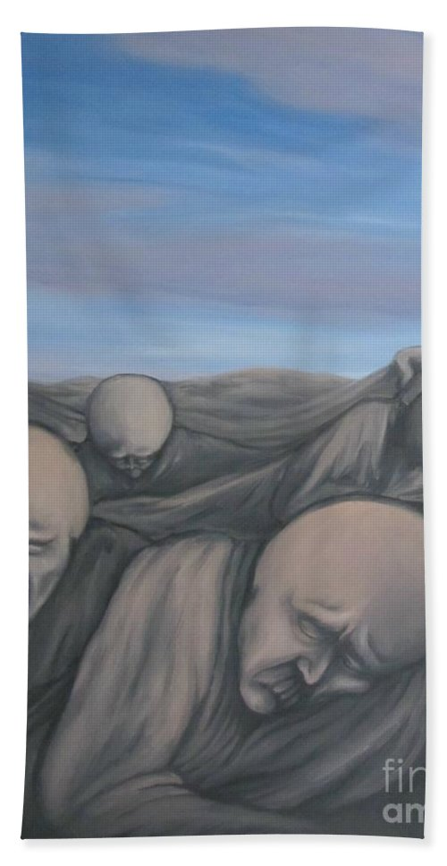 Tmad Bath Towel featuring the painting Dismay by Michael TMAD Finney