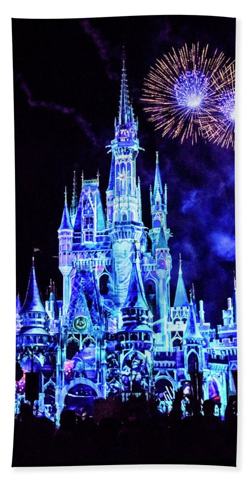 Light Show Over Castle Hand Towel featuring the photograph Disney 4 by Janet Fikar