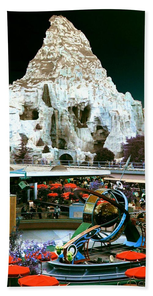 Disneyland Hand Towel featuring the photograph Disneyland Tomorrowland - Pop Color by Dorothy Lee
