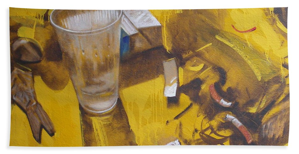 Disposable Bath Sheet featuring the painting Disposable by Sergey Ignatenko