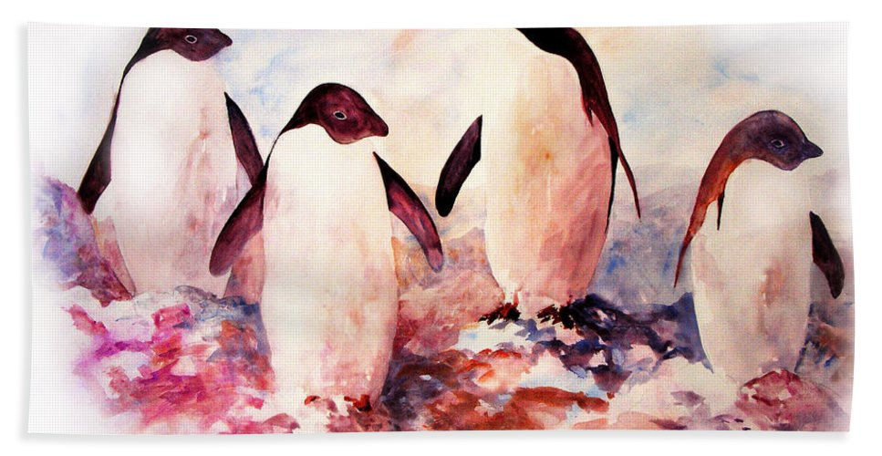 Penguins Bath Towel featuring the painting Dissident by Rachel Christine Nowicki
