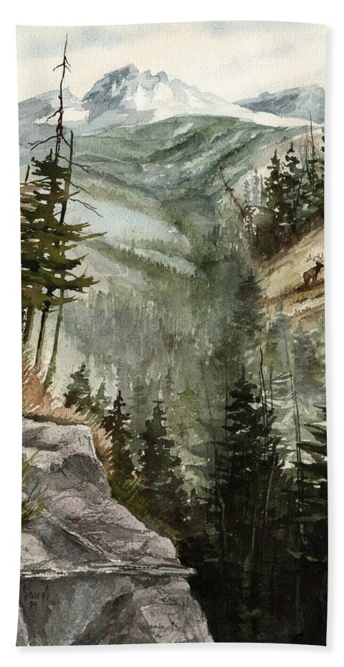 Mountian Elk Landscape Wildlife Trees Bath Sheet featuring the painting Distant Dream by Sam Sidders