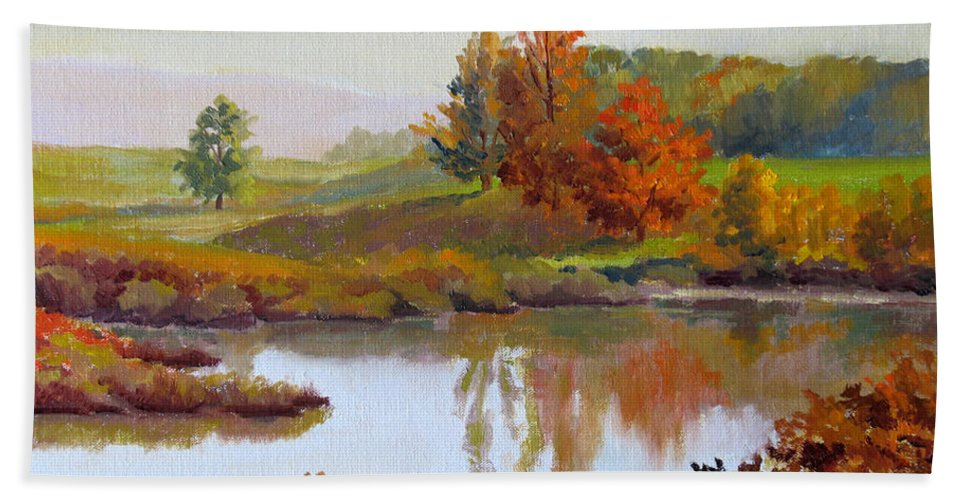 Landscape Hand Towel featuring the painting Distant Maples by Keith Burgess