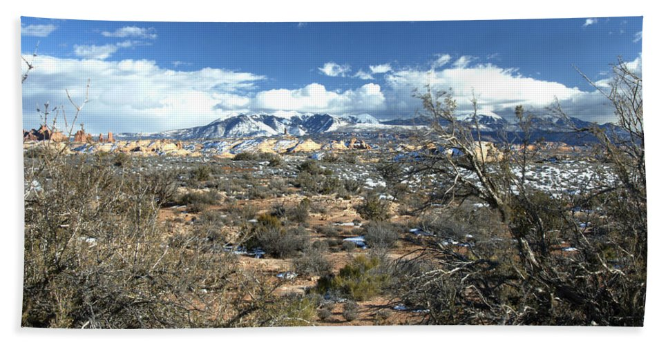 Mountain Bath Sheet featuring the photograph Distant Mountain Range by Paul Cannon