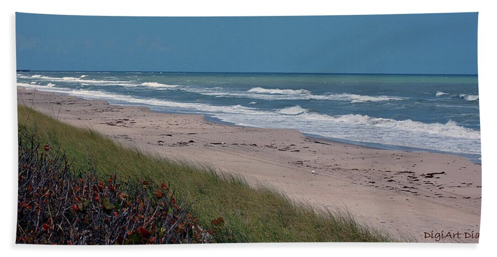 Ocean Bath Towel featuring the digital art Distant Pier by DigiArt Diaries by Vicky B Fuller