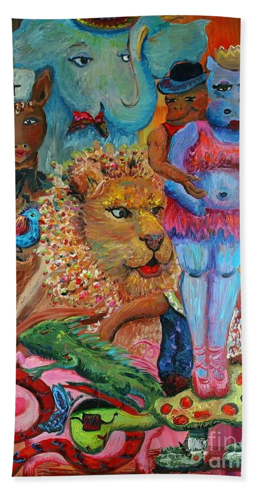 Diversity Hand Towel featuring the painting Diversity by Nadine Rippelmeyer
