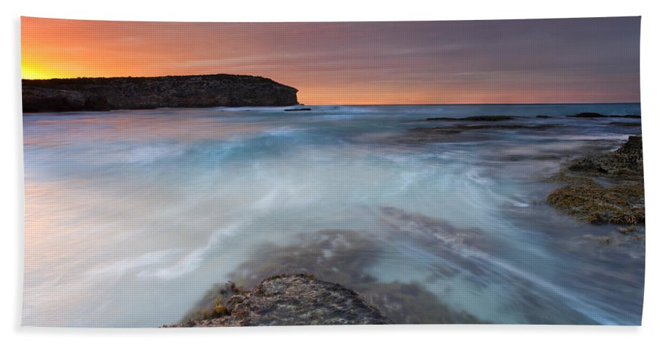 Dawn Bath Towel featuring the photograph Divided Tides by Mike Dawson