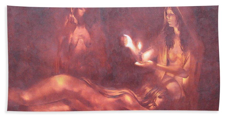Ignatenko Bath Sheet featuring the painting Divination by Sergey Ignatenko
