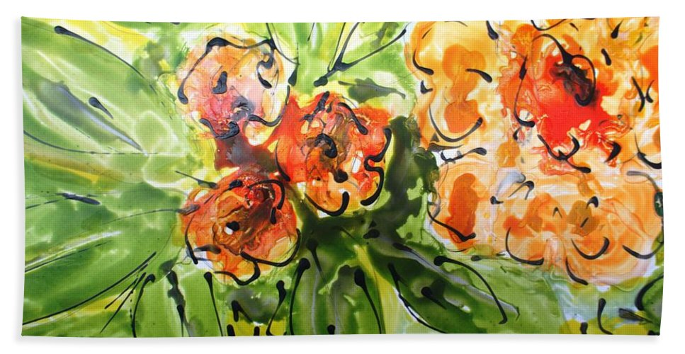 Flowers Bath Sheet featuring the painting Divine Blooms-21192 by Baljit Chadha