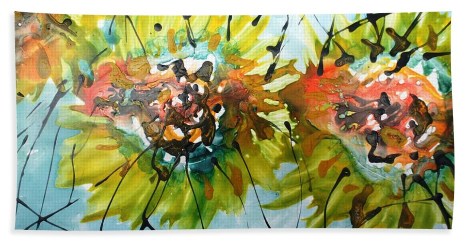 Flowers Bath Sheet featuring the painting Divine Blooms-21202 by Baljit Chadha