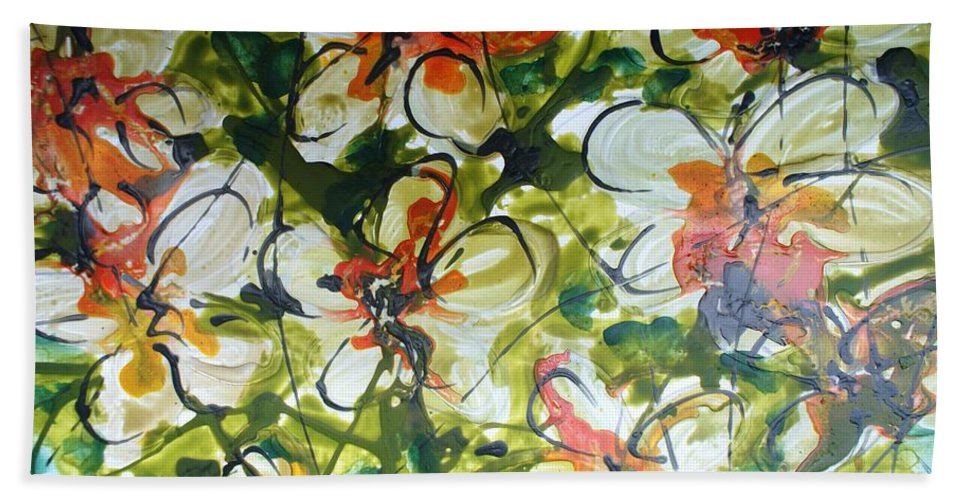 Flowers Bath Sheet featuring the painting Divine Blooms-21203 by Baljit Chadha