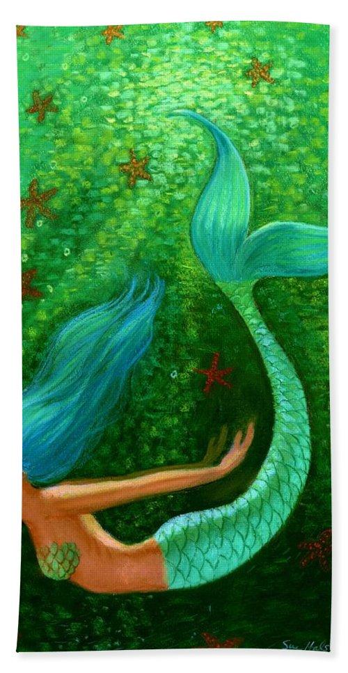 Mermaid Hand Towel featuring the painting Diving Mermaid Fantasy Art by Sue Halstenberg