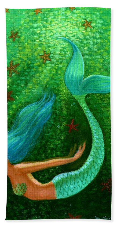 Mermaid Bath Sheet featuring the painting Diving Mermaid Fantasy Art by Sue Halstenberg