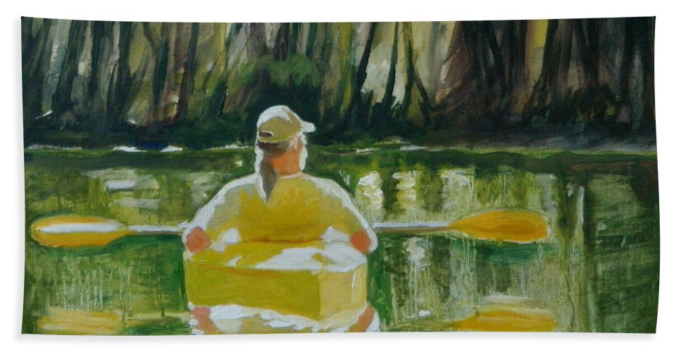 Kayak Bath Sheet featuring the painting Dix River Redux by Laura Lee Cundiff