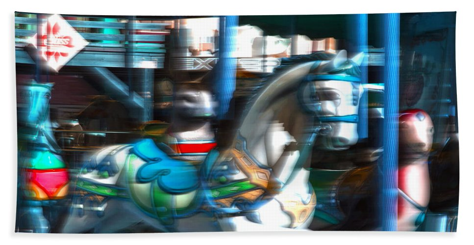 Merry Go Round Bath Sheet featuring the photograph Dizzy In Blue by Marnie Patchett