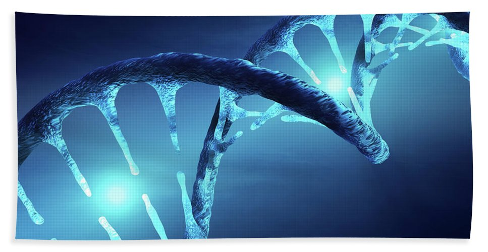 Dna Bath Towel featuring the digital art Dna Structure Illuminated by Johan Swanepoel