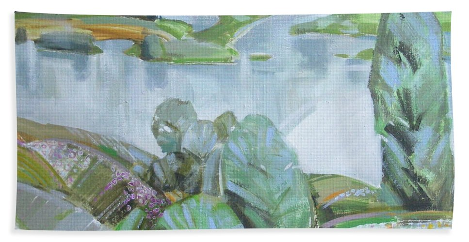 Landscape Hand Towel featuring the painting Dnepro River by Sergey Ignatenko