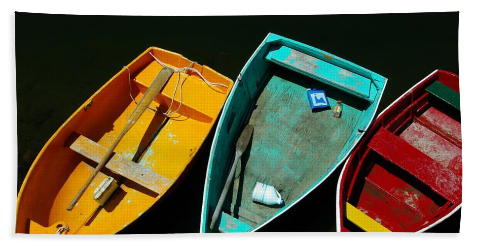 Landscape Nautical Row Boat New England Rockport Bath Sheet featuring the photograph Dnre0603 by Henry Butz