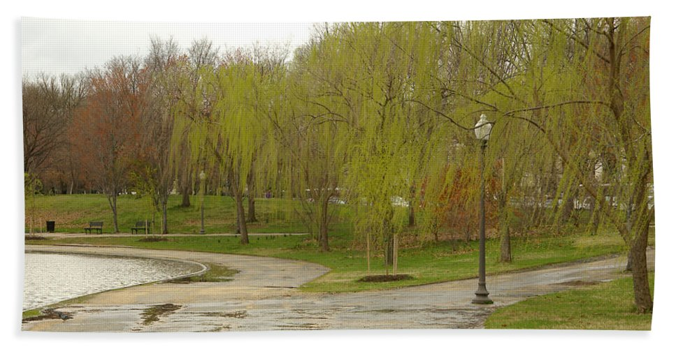 Landscape Park Washington Willow Tree Lake Bath Sheet featuring the photograph Dnrf0401 by Henry Butz