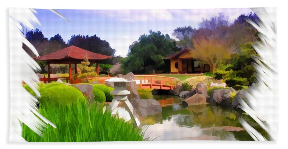 Japanese Gardens Hand Towel featuring the photograph Do-00007 Japanese Gardens by Digital Oil