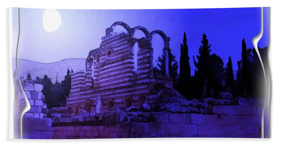 Moon Hand Towel featuring the photograph Do-00307 Moon On Anjar Ruins by Digital Oil
