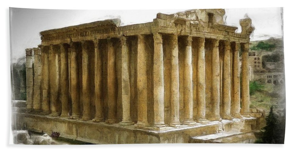 Temple Hand Towel featuring the photograph Do-00311 The Temple Of Bacchus Baalbeck by Digital Oil