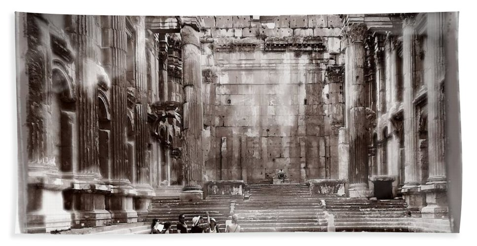 Ancient Hand Towel featuring the photograph Do-00316 Inside The Temple Of Bacchus - Baalbeck by Digital Oil
