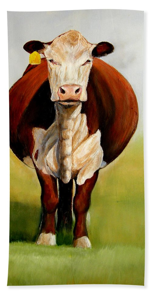 Hereford Bath Sheet featuring the painting Do I Look Fat by Toni Grote